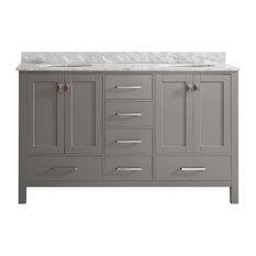 ... Vanity, Gray With Carrara Marble Top, 60
