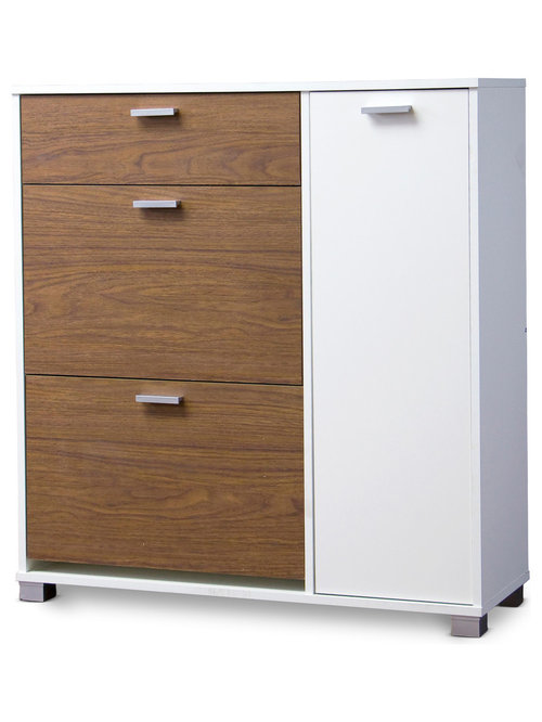 ... Baxton Studio Chateau Storage Cabinet, White and Walnut - Shoe Storage
