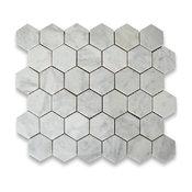"10.75""x11.875"" Carrara White Hexagon Mosaic Tile Honed, Chip Size 2"""