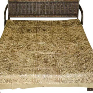 Mogul Interior - Embroidered Bedspreads Throws Coverlet India Khaki Pacca Hand Work Bed Cover - A dazzling Bedspread embroidery done by using silk threads, mirror and work adds to the glittering sari Indian Bedding.