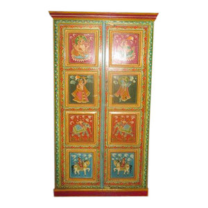 Mogul Interior - Consigned Antique Painting Ganesha Armoire Indian Hand Crafted Indian Cabinet - The NEW Armoire comes from India and is a 20th century vintage cabinet brought to you by MOGULINTERIOR