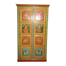 Mogul Interior - Consigned Antique Painting Ganesha Armoire Indian Hand Crafted Indian Cabinet - Bedroom Furniture