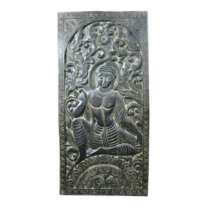 Mogul interior - Consigned Indian Door Decor Reclaimed Panel Buddha Teaching Mudra - The Buddha image boast combination of two mudras in this hand carved door panel, India.