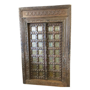 Mogul Interior - Antique Indian Doors haveli Style Hand Carved Reclaimed Teak Doors  and Frame - The door comes from India and are a  19 century vintage haveli pieces.