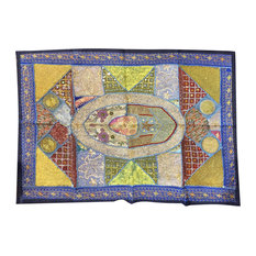 Mogul Interior - Consigned Indian Wall Hangings Boho Tapestry Art Decor - Traditional ethnic Room Decor handmade wall hanging tapestry has Antique Red colors with silver,gold sparking beads,green patches.