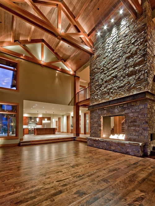 Two story stone fireplace home design ideas pictures for Great room lighting high ceilings