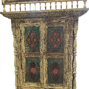 Mogul Interior - Consigned Terrace Window Rustic Reclaimed Indian Style Decor Jaipur Jharokha - Rich with history and detail these set of doors will accent beautifully any room.