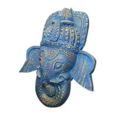 Mogul Interior - Consigned Antique Ganesha Hand-Carved Wall Hanging Blue Masks For Good Luck - Decorative Objects And Figurines