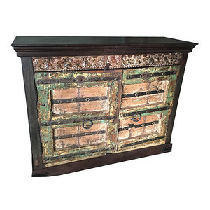 Mogul Interior - Rustic Sideboard Cabinet Reclaimed Wood Double Door Storage - The sideboard comes from India and are a 19 century vintage pieces.