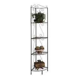 "Metal 70"" High Corner Display Etagere - This elegant corner display ..."