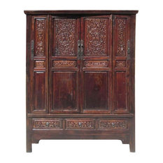Golden Lotus Chinese Antique Solid Wood Hand Carving Armoire Cabinet