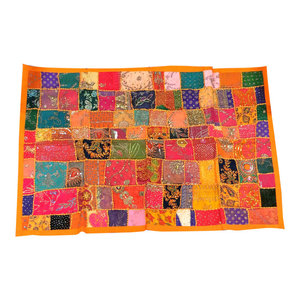 Mogul interior - Consigned Indian Wall Hanging Tapestry Orange Embroidery Sequins - Sari tapestries are handmade from sari embroidered saris and Zardozi patches and are beautifully exotic creations.