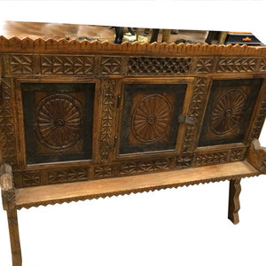 Mogul Interior - Antique Indian Sideboard Chest Dresser Vastu Chakra Carved Vintage Teak Wood Rus - Brown patina manjoosh, deeply hand carved vastu chakra designs, wooden sideboard chest.