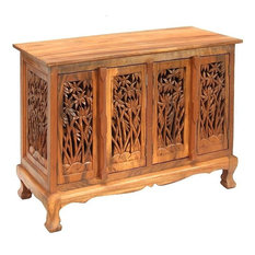 warm breezes on this superbly hand-carved acacia wood storage cabinet ...