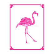 Palm Beach Chic Hot Pink Flamingo Giclee by The Pink Pagoda