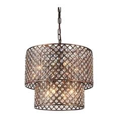Chandelier Drum Shade: Edvivi - 2-Tier 8-Light Crystal Chandelier With Lattice Drum Shade, Antique,Lighting