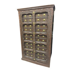 Mogul Interior - Consigned Antique Teak Britsh Colonial Brass Armoire Cabinet - Armoires And Wardrobes