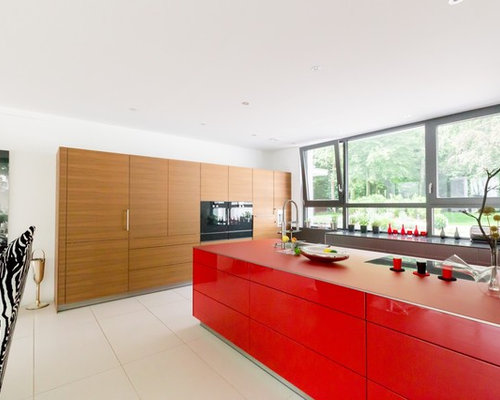 kitchen design ideas renovations photos with red cabinets. Black Bedroom Furniture Sets. Home Design Ideas