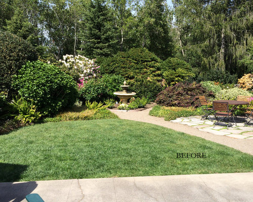 A traditional landscape loses the lawn overgrown shrubs for Low water landscaping plants