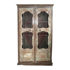 Mogul Interior - Consigned Antique Mogul Iron Jali Doors Cabinet Cupboard Reclaimed Wood Armoire - Armoires And Wardrobes