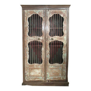 Mogul Interior - Consigned Antique Mogul Iron Jali Doors Cabinet Cupboard Reclaimed Wood Armoire - The cabinet comes from India and is made from 19 century vintage pieces.