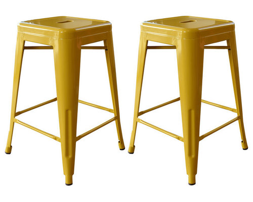 Bar Stool, Set of 2, Gold - These 24 Inch AmeriHome Metal Bar Stools ...