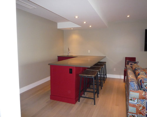 Home Bar Design Ideas Renovations Photos With Red Cabinets And An Undermount Sink