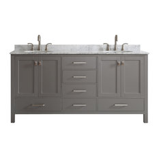 Vinnova Gela Double Vanity With Carrara Marble Top  Gray