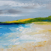 Abstract Seascape 'Embleton Bay' Acrylic Painting by Sally Kelly