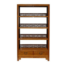 Golden Lotus - Chinese Old Solid Wood Happiness Carving Display Cabinet Book Shelf - You are ...
