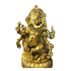 Mogul Interior - Dancing Ganesha Brass Statue Home Decor Collectible Hinduism Sculpture Idol 10.5 - Decorative Objects And Figurines