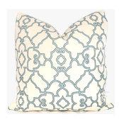 Aqua And Ivory Trellis Decorative Pillow Cover By PopOColor