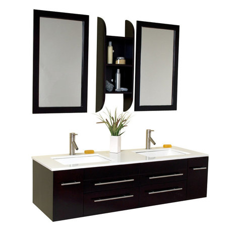 Modern Wall-Mounted Double Sink Bathroom Vanities | Houzz