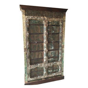 Mogulinterior - CONSIGNED Indian Antique Almirah Rustic Teak Cabinet Furniture From India - The cabinet comes from India and is built with 19 century vintage pieces.
