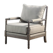 West Palm Living Room Accent Chair in Rustic Oak, Taupe