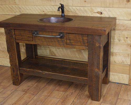 Reclaimed wood rustic bathroom vanities for Recycled bathroom sinks