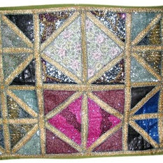 Mogul Interior - Bollywood Decor Tapestry, Vintage Sari Wall Hanging, Sequin Beaded Tapestry - Excelent hand made tapestry with sequin embroidery gives a special touch to your home.