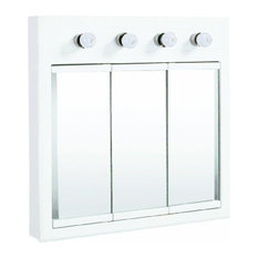 """DHI-Corp - Concord White Gloss Lighted Medicine Cabinet Mirror, 30"""" by 5"""" by 30"""" - The Design ..."""