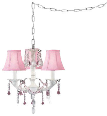 The Gallery Pretty In Pink Swag Style Plug In Mini Chandelier