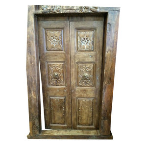Mogul Interior - Consigned Haveli Doors Teak Peacock Carving Frame Furniture Doors 18c - The teak doors comes from India and are a 19 century vintage door belonging to a Haveli in Rajasthan ,India brought to you by MOGULINTERIOR in superb condition