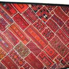 Mogul Interior - Consigned Folk Banjara Embroidered Throw Kuch Red Tapestry - We presents handicrafts handmade tapestry wall decorative embroidery Kuch banjara throw