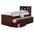 Kids Twin Storage Captain Bed W Bookcase Headboard Trundle