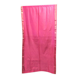 Mogul Intereior - Sari Curtains Panel, Pink - Brocade SARI Silk