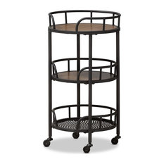 Anzy Rustic Style Metal And Wood Mobile Serving Cart Outdoor Carts