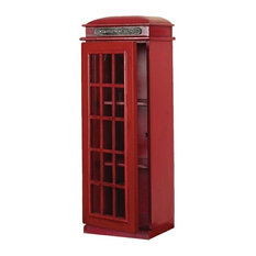 "... Telephone Red Booth CD/ DVD Holder Cabinet 30""H - Media Cabinets"