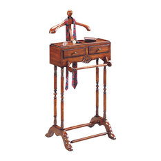 Butler Specialty - Butler Valet - This elegant valet is a must for anyone with a flair for fashion. Hand crafted from solid hardwood, it features a scuptured wood hanger, ideal for a jacket, shirt or blouse; pants hanger, two drawers with antique brass finsihed hardware; and a top storage shelf.