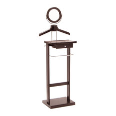 "Winsome Wood - Valet Stand With Wood Base - This Valet stand keeps great organization of your suit, dress shirt, shoes and accessories within reach.  Overall assembled product size is 19.84""W x 14.96""D x 55.33""H.  Sturdy construction with rich espresso finish. Features includes coat/shirt hanger, pant hanging bar, mirror and drawer.  Assembly Required."