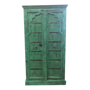 Mogul Interior - Antique DOORS CABINET Hand Carved Distressed Teal Green Armoire Cabinet - The NEW cabinet comes from India and has 18/19 century vintage doors