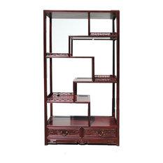 Golden Lotus - Oriental Rosewood Display Curio Cabinet Divider - This ...