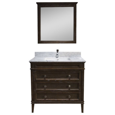 Bordeaux 36 Vanity Set With Carrara Marble Top Black Red Oak Contemp